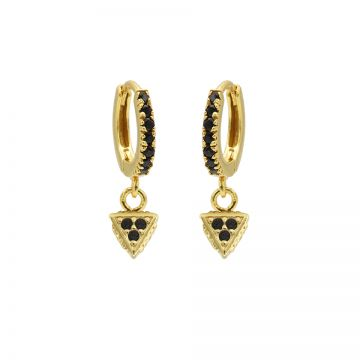 Zirconia Black Hinged Hoops Triangle Dots Goldplated