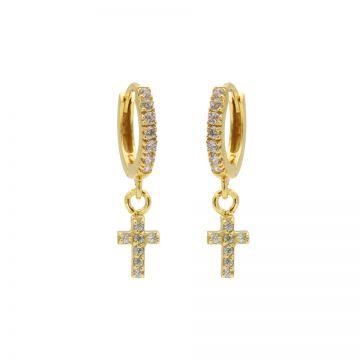 Zirconia Hinged Hoops Symbols Faith Goldplated