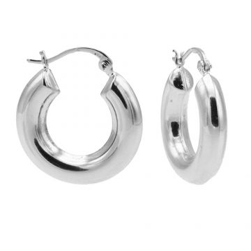 Plain Hoops Big Round Tube Silver 25MM