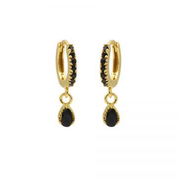 Zirconia Black Hinged Hoops Symbols Drop Goldplated