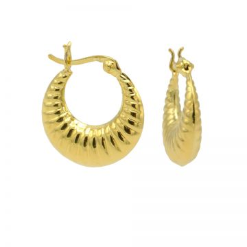 Plain Hoops Ribbled Round Goldplated 18MM