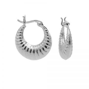 Plain Hoops Ribbled Round Silver 18MM