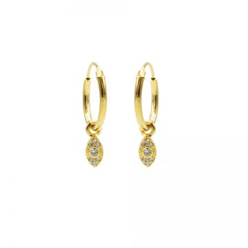 Hoops Symbols Zirconia Pointy Oval Goldplated