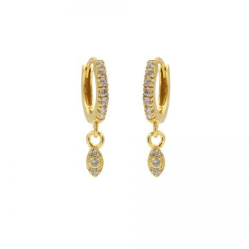 Zirconia Hinged Hoops Symbols Pointy Oval Goldplated