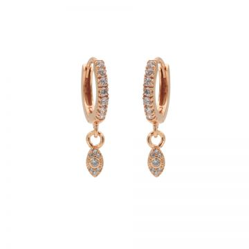 Zirconia Hinged Hoops Symbols Pointy Oval Roseplated