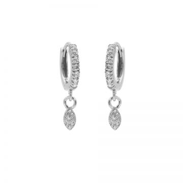 Zirconia Hinged Hoops Symbols Pointy Oval Silver