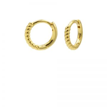 Plain Hinged Hoops Half Twisted 10MM Goldplated