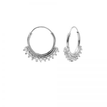 Hoops Symbols Solid Zirconia Row Silver