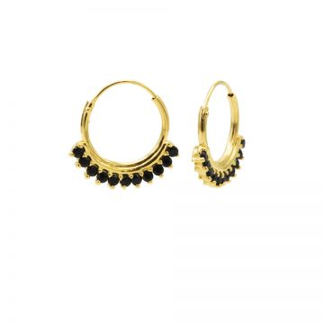 Hoops Symbols Solid Black Zirconia Row Goldplated