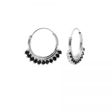 Hoops Symbols Solid Black Zirconia Row Silver