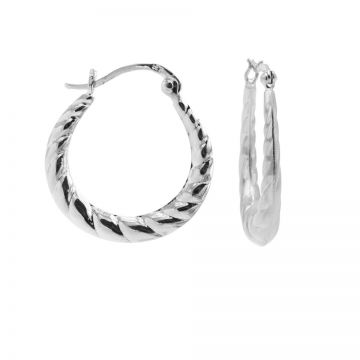 Plain Hoops Braided Silver 24MM