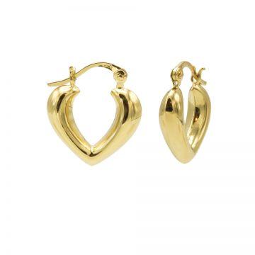Plain Hoops Heart Shape Ribble Goldplated 15MM