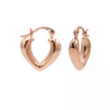 Plain Hoops Heart Shape Ribble Roseplated 15MM