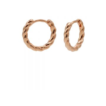 Plain Twister Hinged Hoops Roseplated 12MM