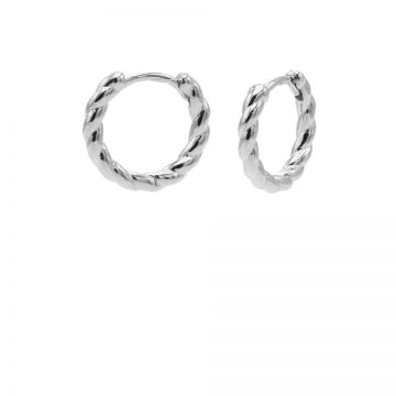 Plain Twister Hinged Hoops Silver 12MM
