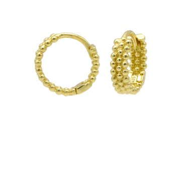 Plain Dots Row Hinged Hoops Goldplated 12MM