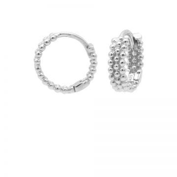 Plain Dots Row Hinged Hoops Silver 12MM