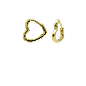 Plain Hinged Hoops Heart Goldplated 11MM