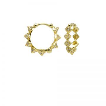 Plain Hinged Hoops Diamond Spike Goldplated 15MM