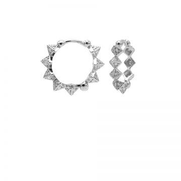 Plain Hinged Hoops Diamond Spike Silver 15MM