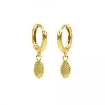 Hinged Hoops Pointy Oval Goldplated