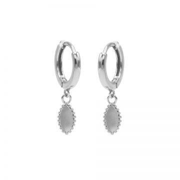 Hinged Hoops Pointy Oval Silver