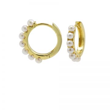 Plain Hinged Hoops Pretty Pearls 13MM Goldplated