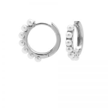Plain Hinged Hoops Pretty Pearls 13MM Silver
