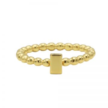 Ring Dots Rectangle Goldplated