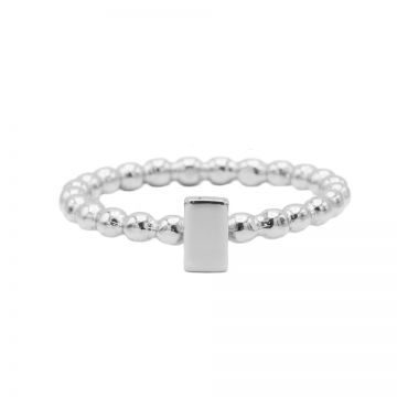 Ring Dots Rectangle Silver