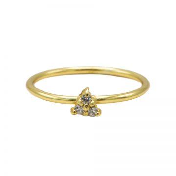 Ring Diamond Triple Dots Goldplated