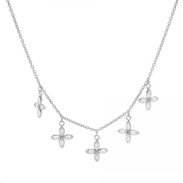 Necklace 5 Zirconia Flowers Silver