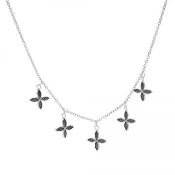 Necklace 5 Black Zirconia Flowers Silver