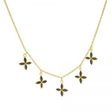 Necklace 5 Black Zirconia Flowers Goldplated