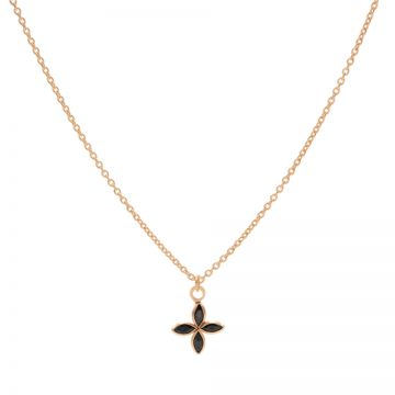 Necklace Black Zirconia Flower Roseplated