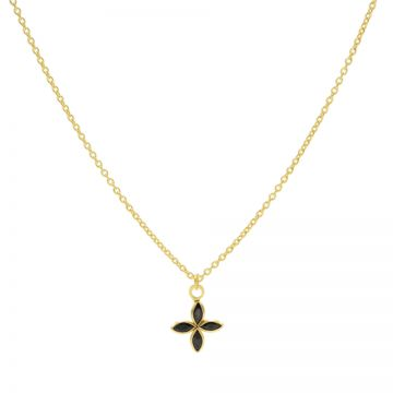 Necklace Black Zirconia Flower Goldplated