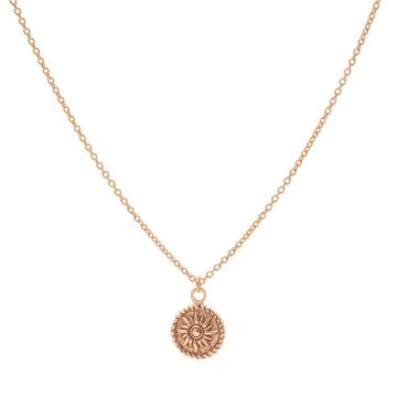 Necklace Sun Coin Roseplated 50-57CM