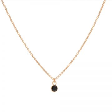 Necklace Black Zirconia Dot Roseplated