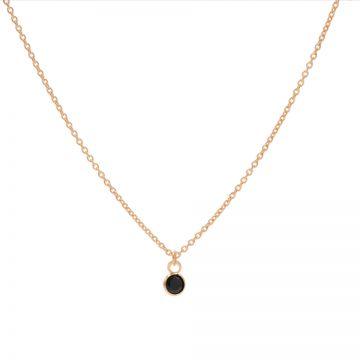 Necklace Black Zirconia Dot Roseplated