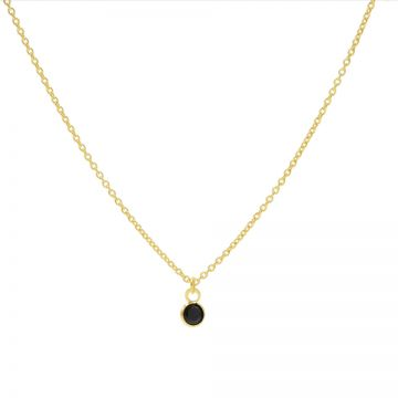 Necklace Black Zirconia Dot Goldplated