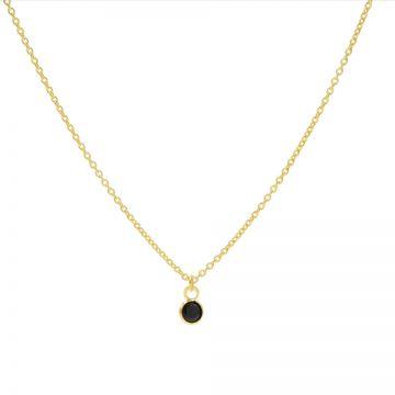 Necklace Black Zirconia Dot Goldplated