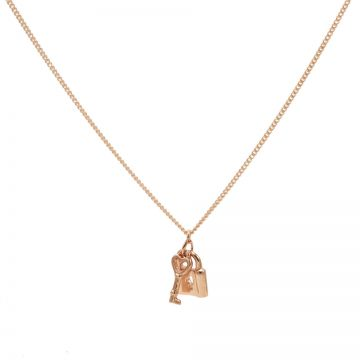 Necklace Key Lock Roseplated