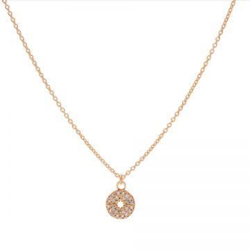 Necklace Zirconia Disc Morningstar Roseplated