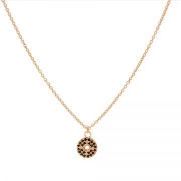 Necklace Black Zirconia Disc Morningstar Roseplated