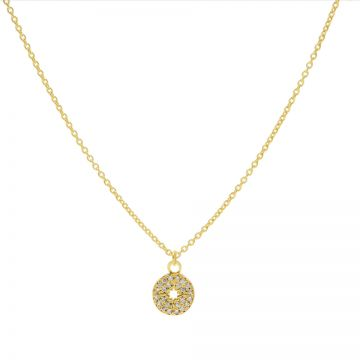 Necklace Zirconia Disc Morningstar Goldplated