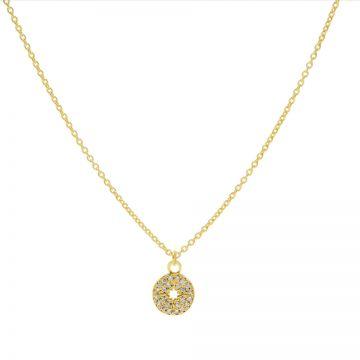 Necklace Zirconia Disc Morningstar Goldplated