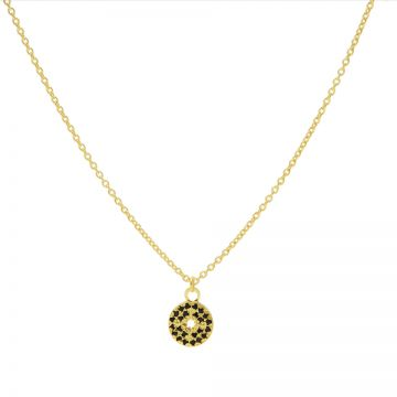 Necklace Black Zirconia Disc Morningstar Goldplated