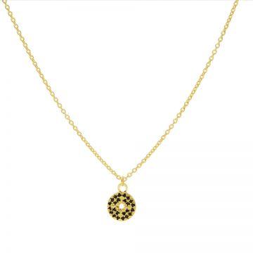 Necklace Black Zirconia Disc Morningstar Goldplated