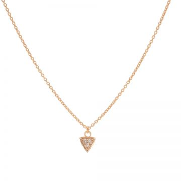 Necklace Zirconia Triple Dots Triangle Roseplated