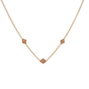 Necklace Triple Zirconia Diamond Roseplated